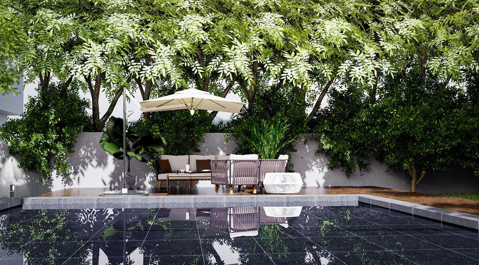 Modern Villa - Backyard Exterior 4 Modeling landscape and Visualization ( SketchUp + D5 Render )