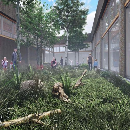 Eco-tecture - Unifying Ecology with Architecture - Thesis Project Courtyard View