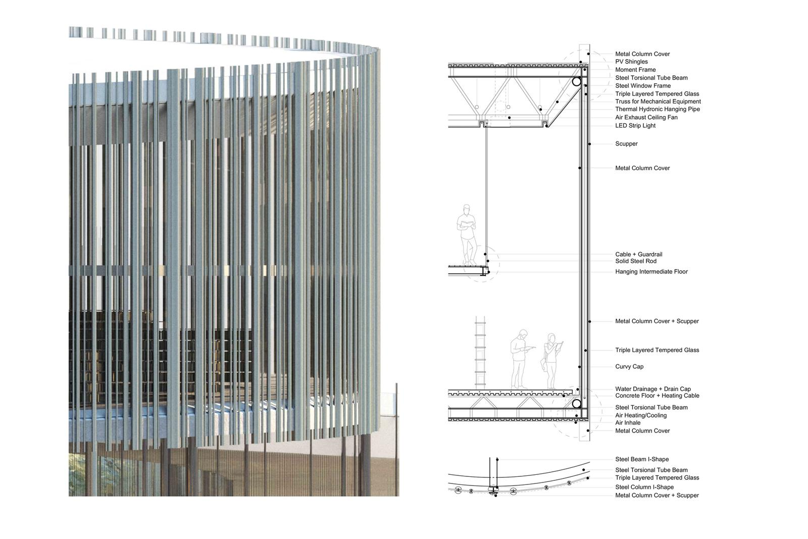 Outer Mission Ramp Library - Wall Section / Enlarged Elevation