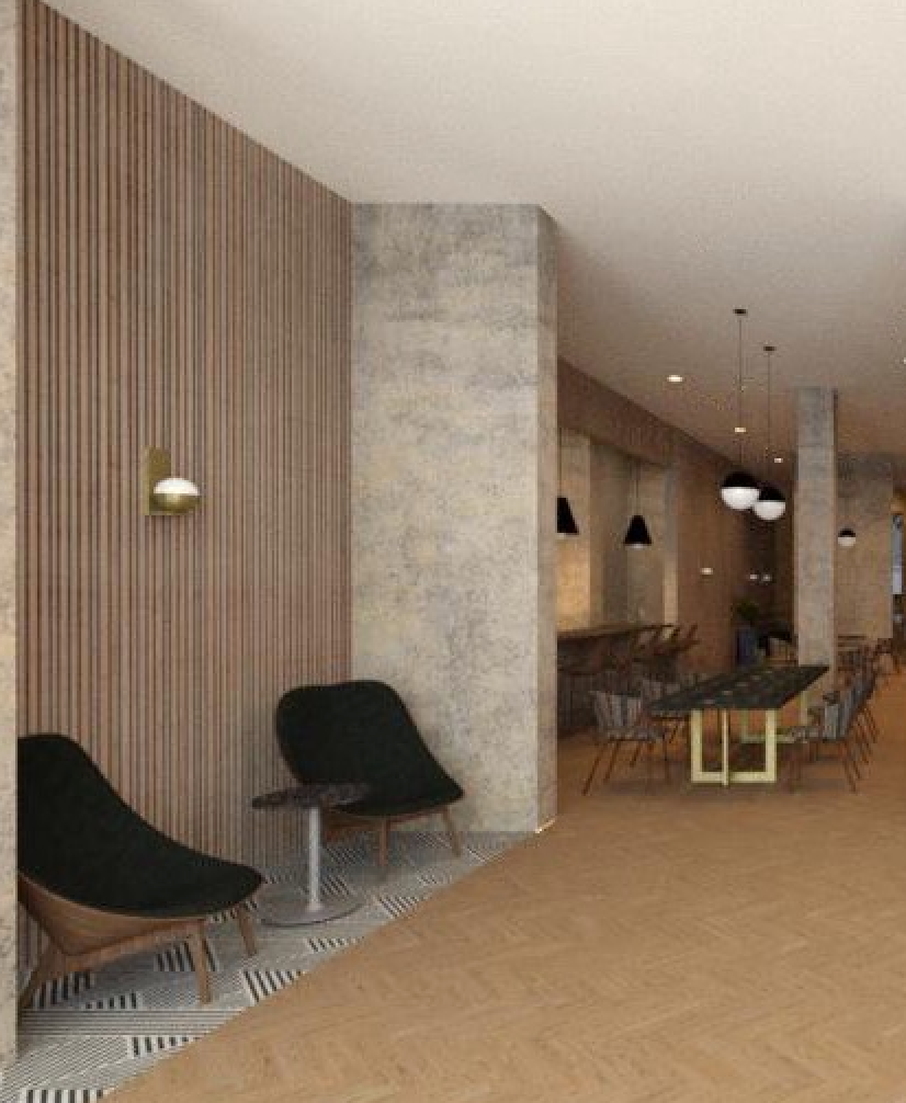 The Town Hotel - North lobby, across from front desk