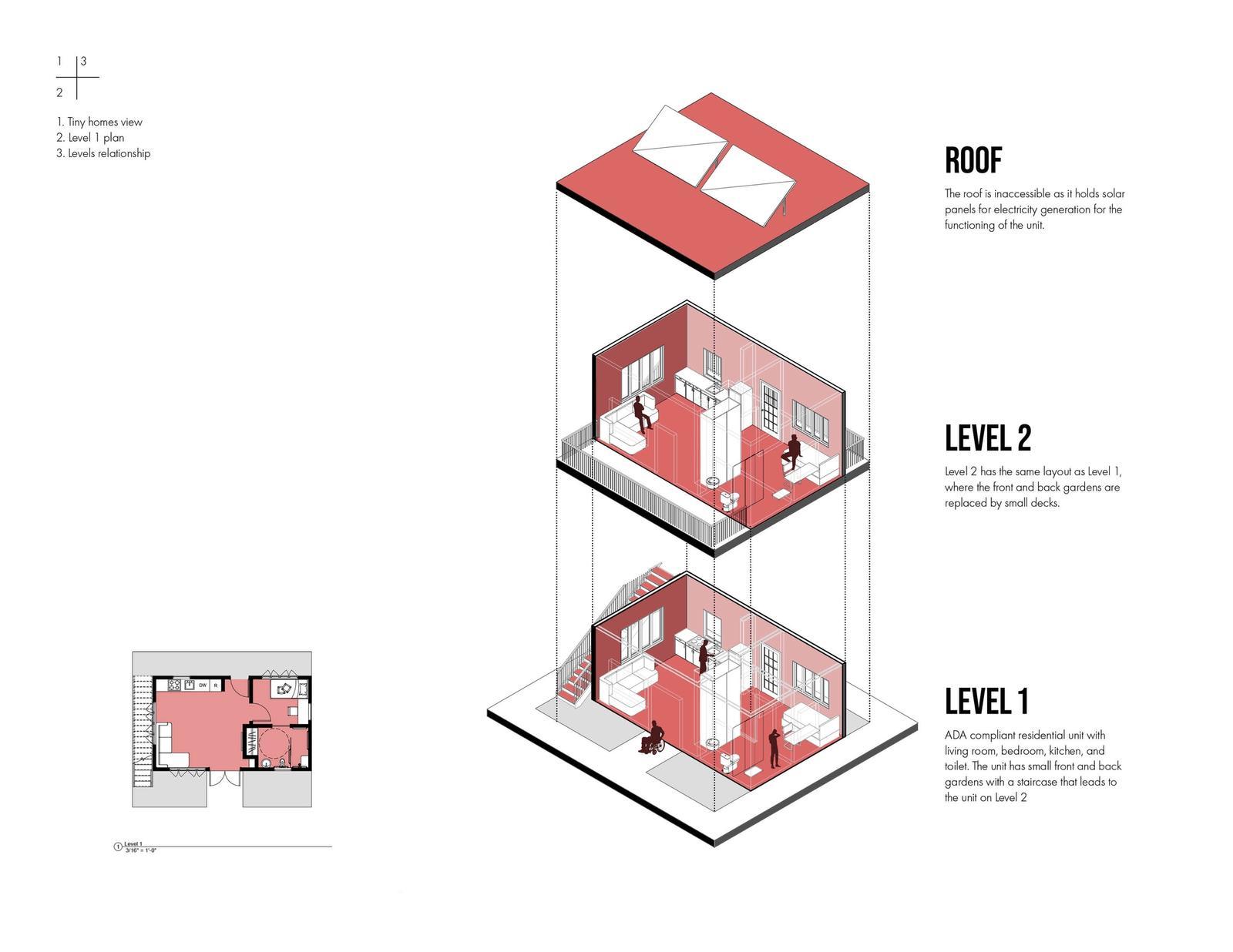 Eco-block - Tiny Home Exploded Axonometric