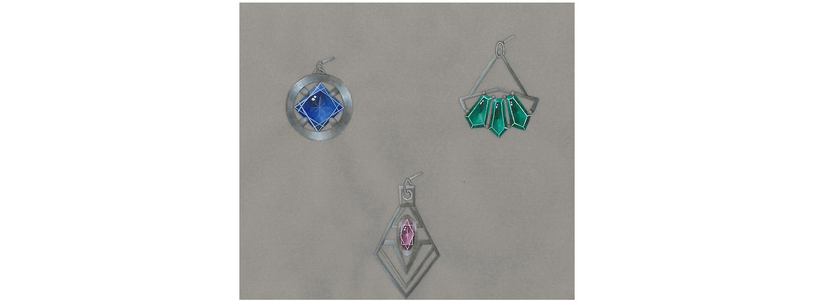 A series of earrings rendering inspired by the Art Deco Movement