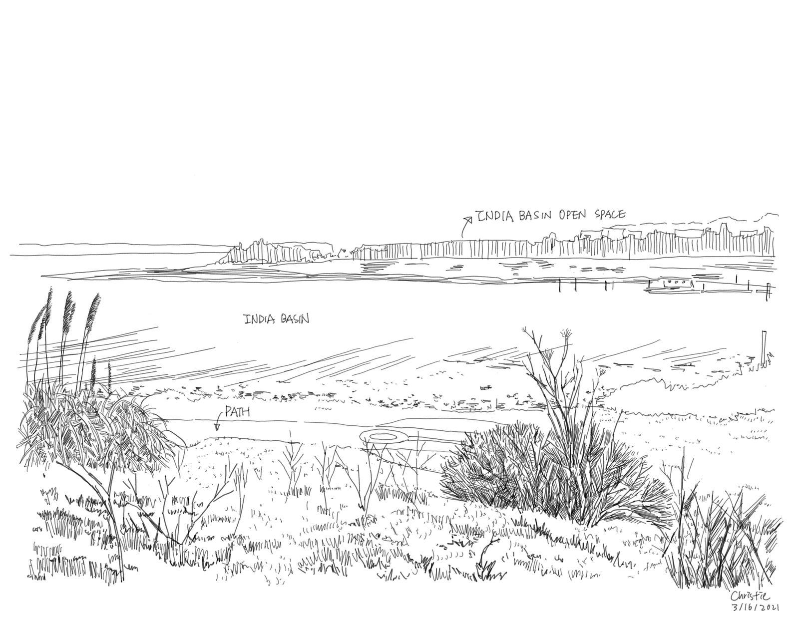 India Basin Park, San Francisco - Site Inventory Sketch 3