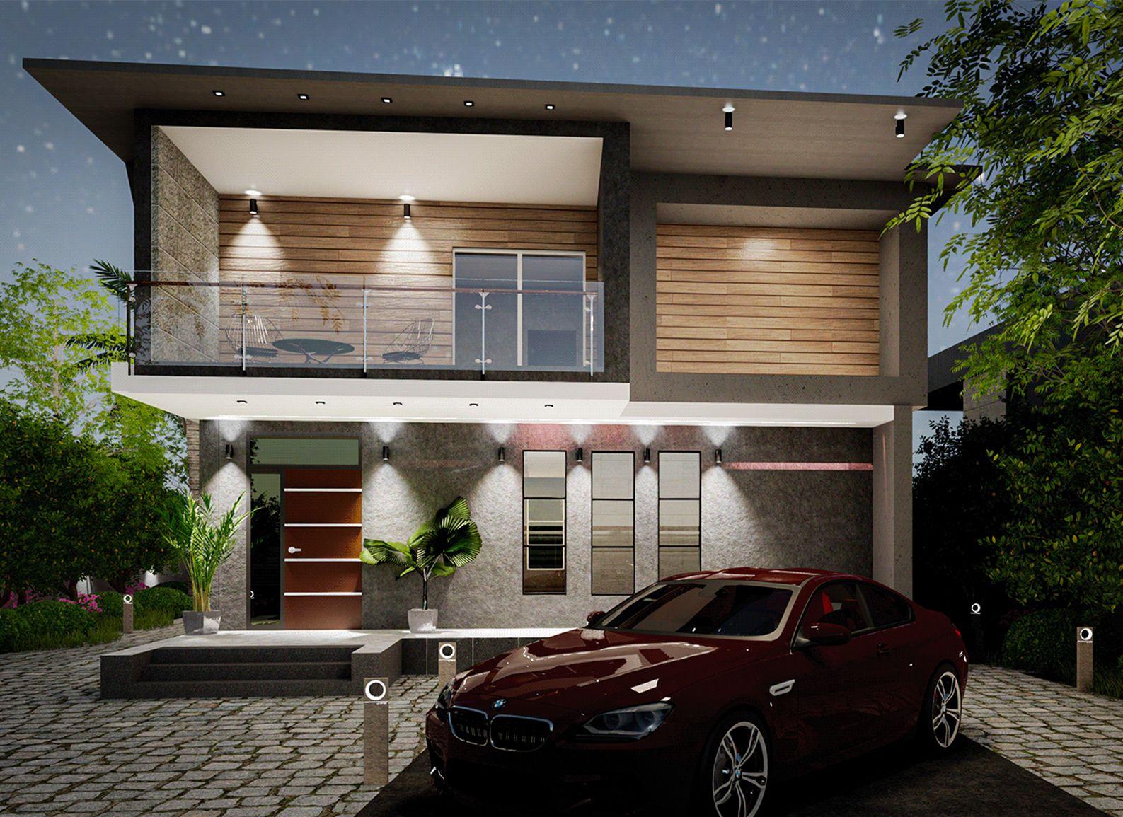 Modern Villa - Night Exterior Modeling and Visualization ( SketchUp + D5 Render )