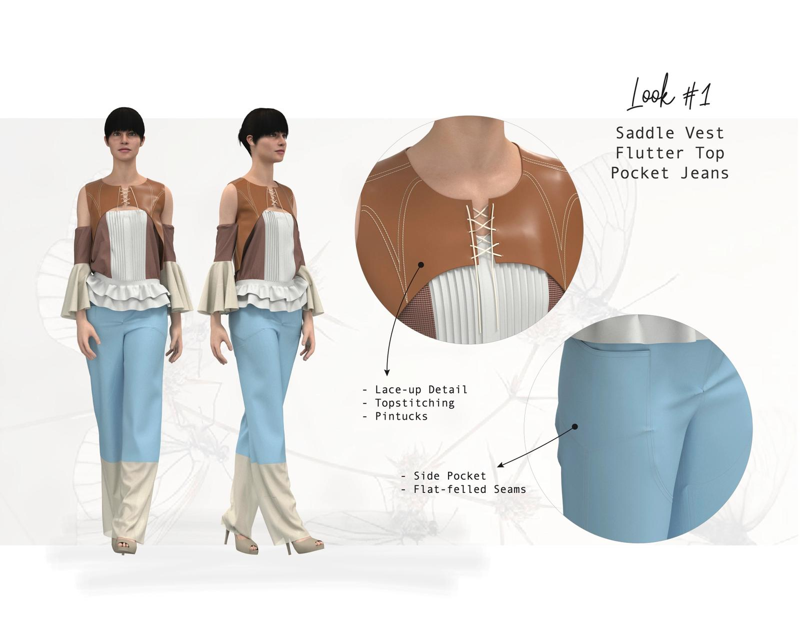 CLO3D Rendering of previous Fashion Design 3 illustration