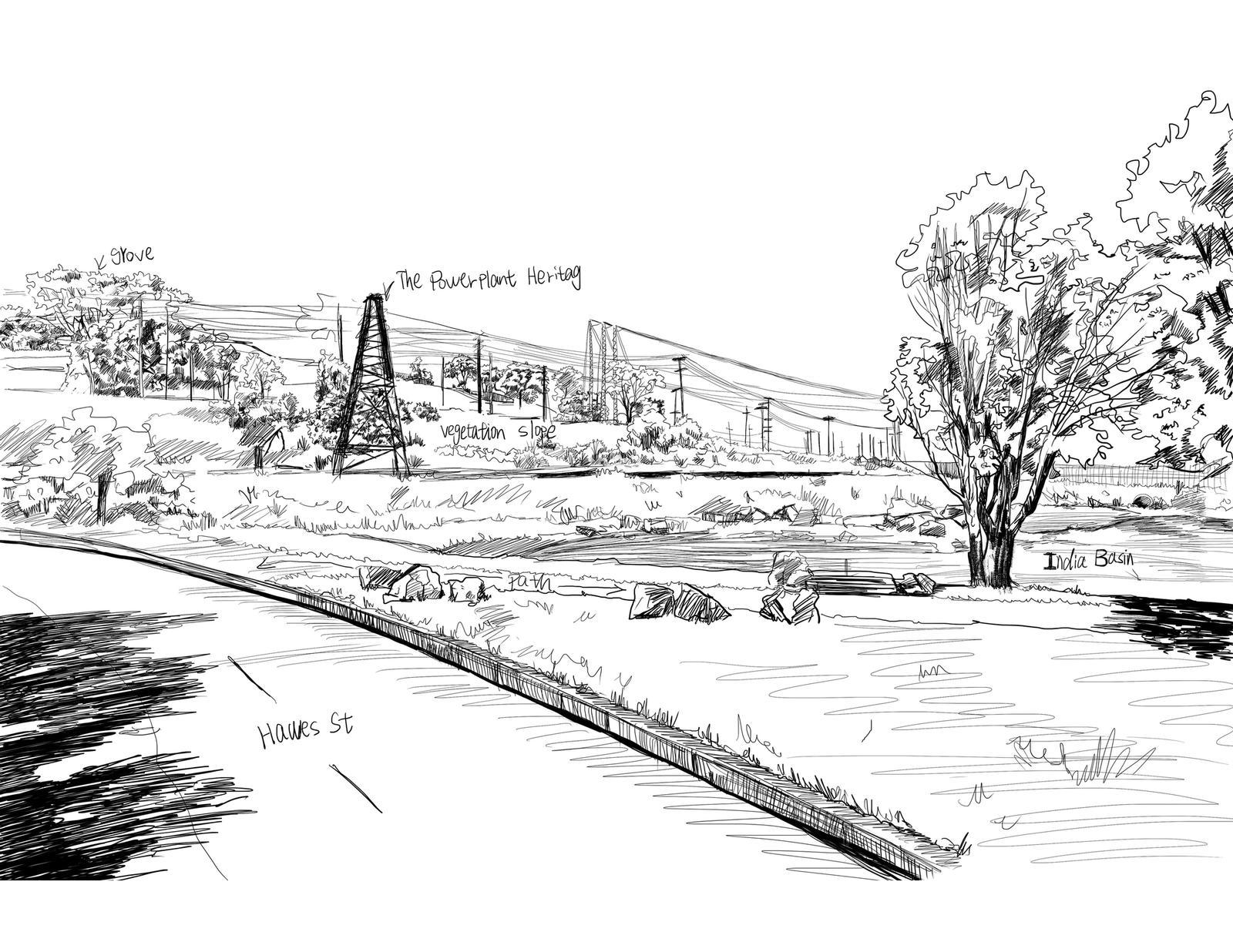 Site Analysis Sketch 2 – India Basin Park, San Francisco