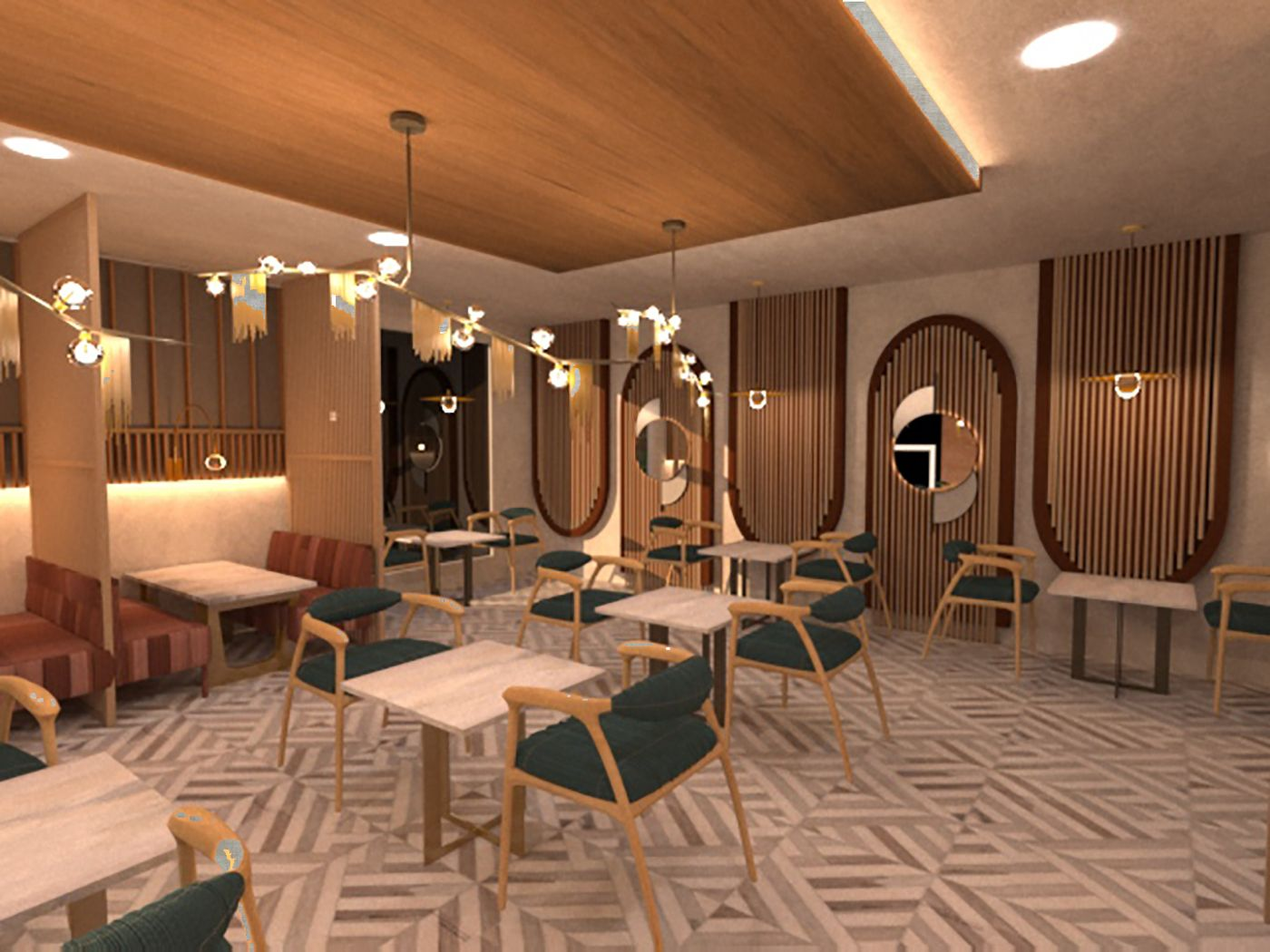 Raw Luminaire - Booth Seating Area 1