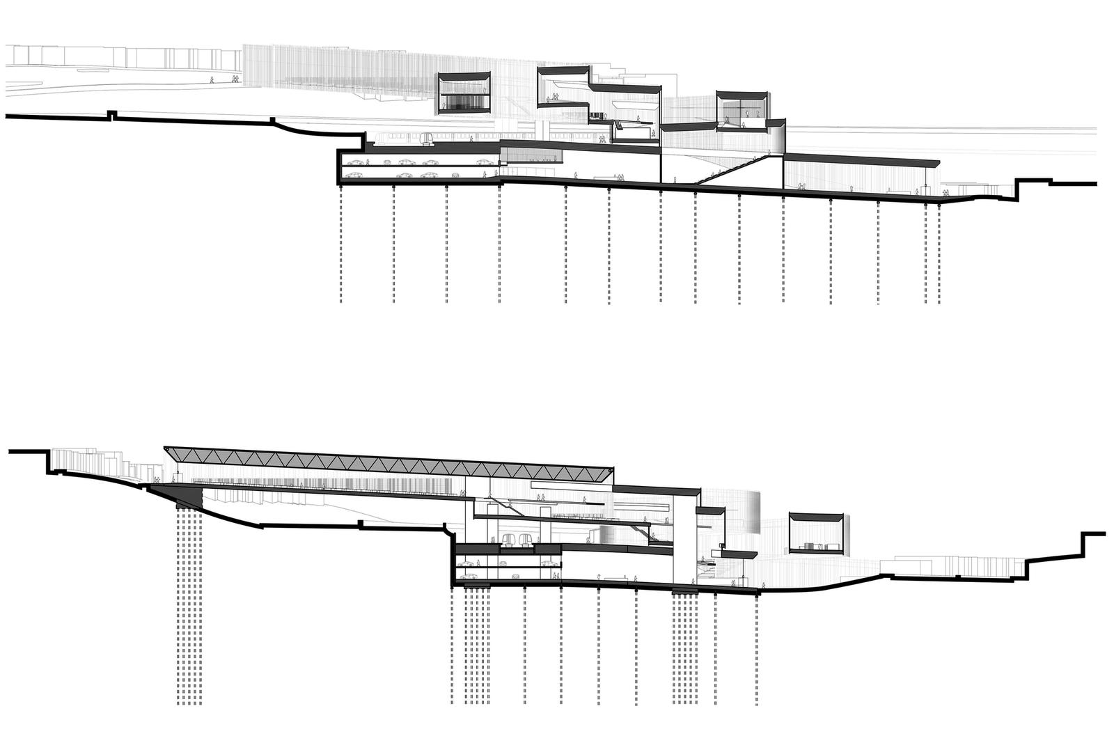 Outer Mission Ramp Library - Building Sections