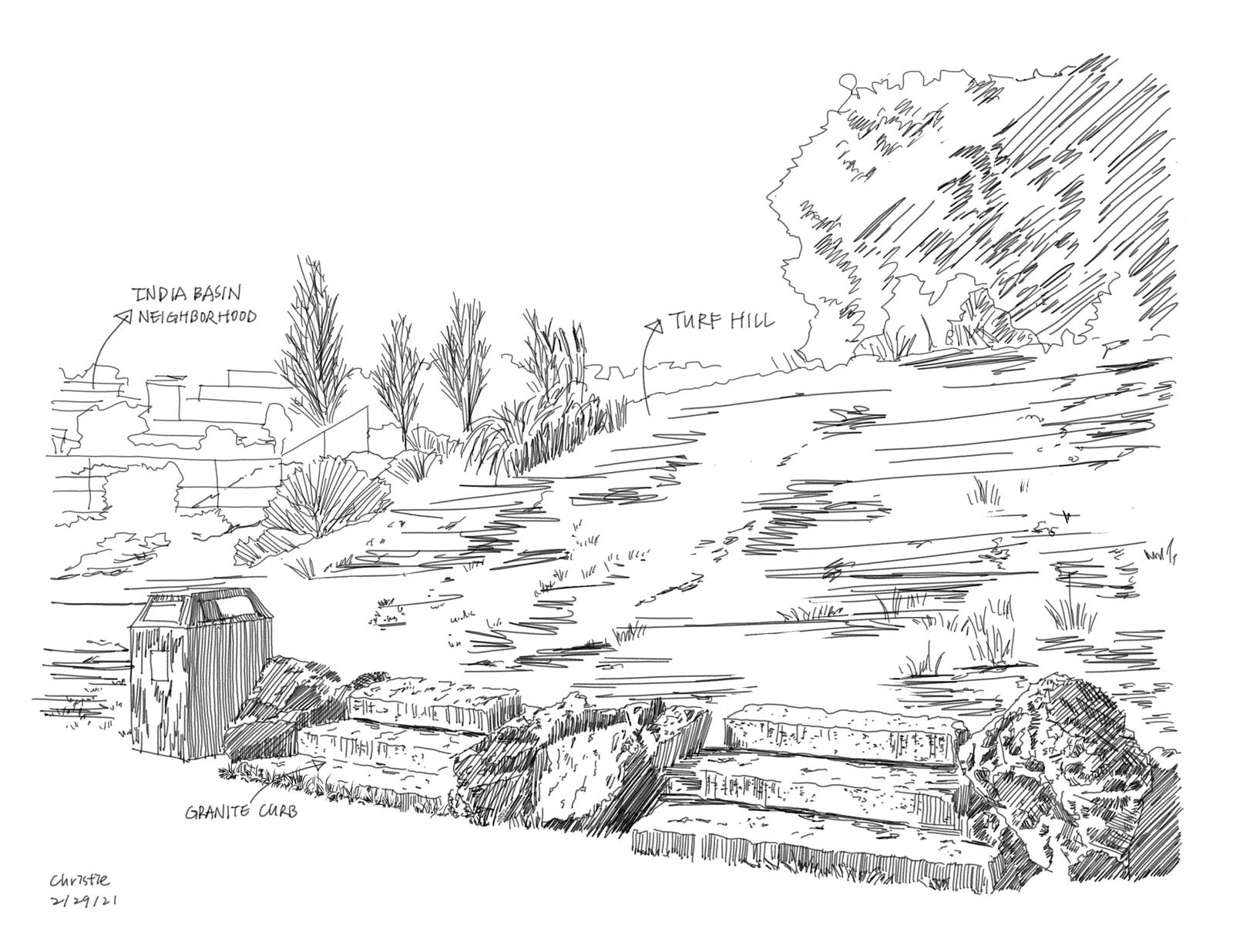 India Basin Park, San Francisco - Site Inventory Sketch 1