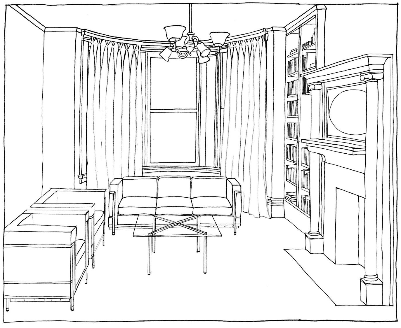 Living Room - Perspective Drawing
