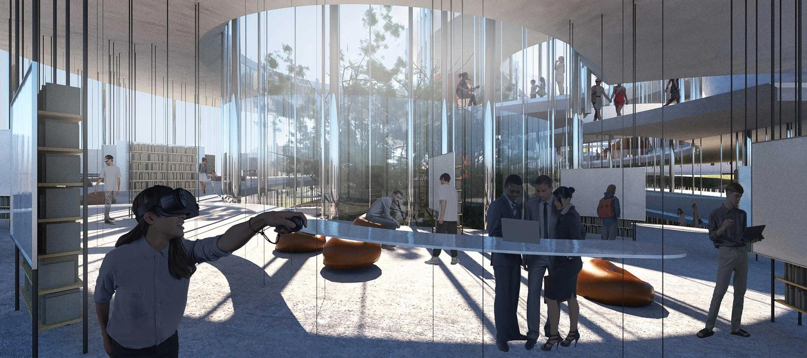 Outer Mission Ramp Library Interior Rendering - Digital Natives Learning Area