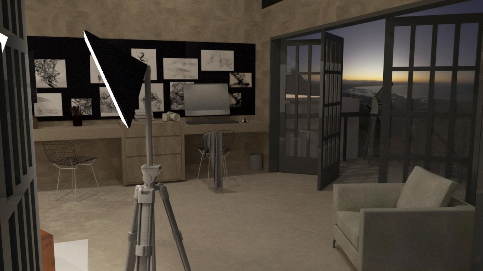 Artist Studio Loft - Studio in the Evening