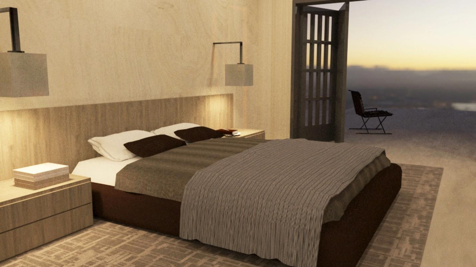 Artist Studio Loft - Bedroom Evening with Task Light