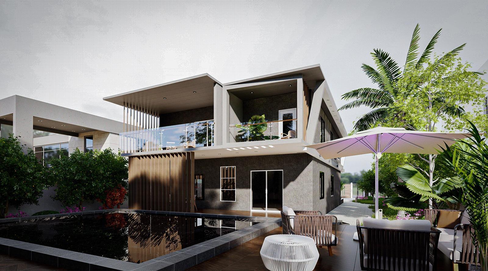 Modern Villa - Backyard Exterior 2 Modeling landscape and Visualization ( SketchUp + D5 Render )