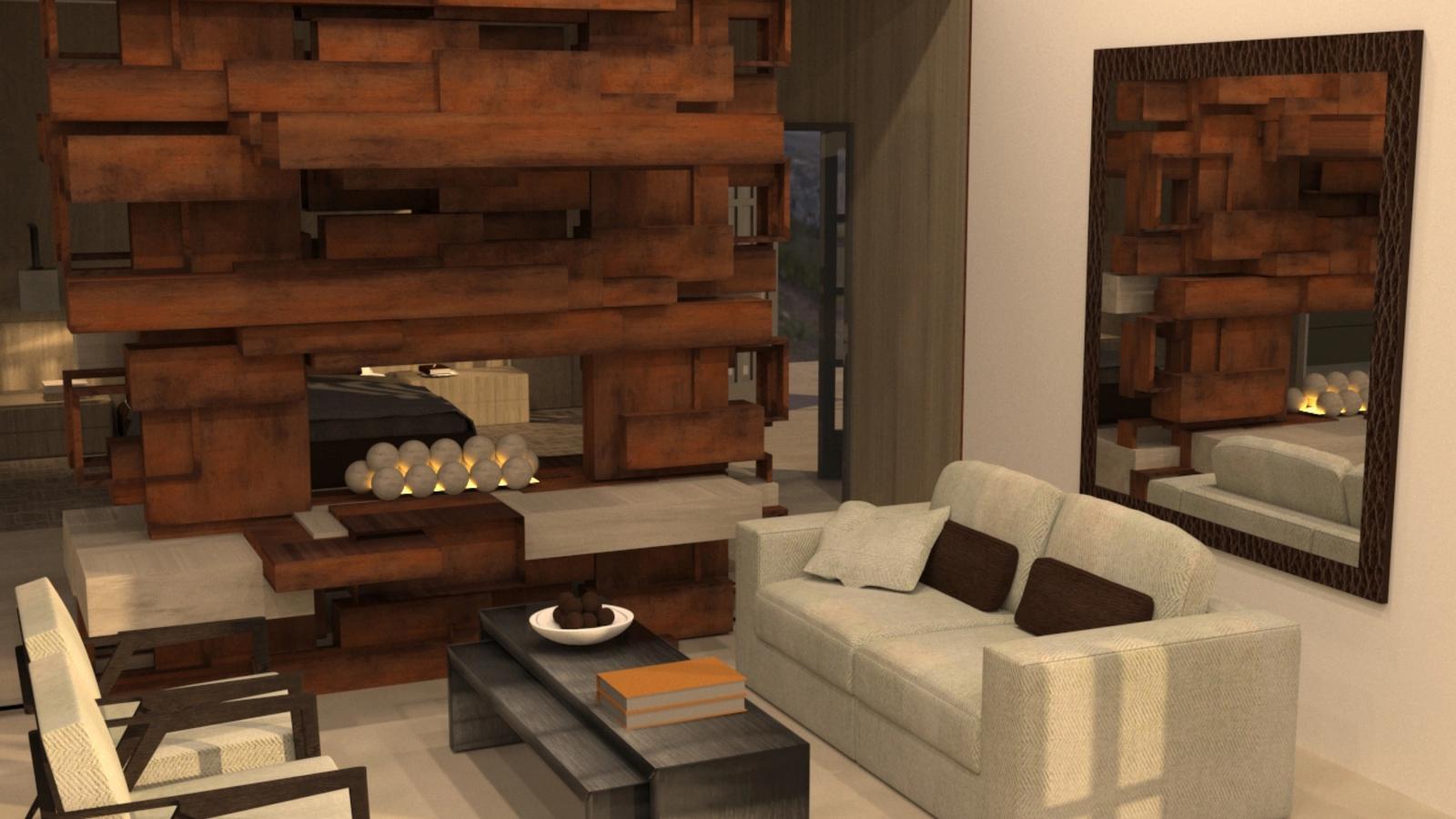 Artist Studio Loft - Living Room in the Evening
