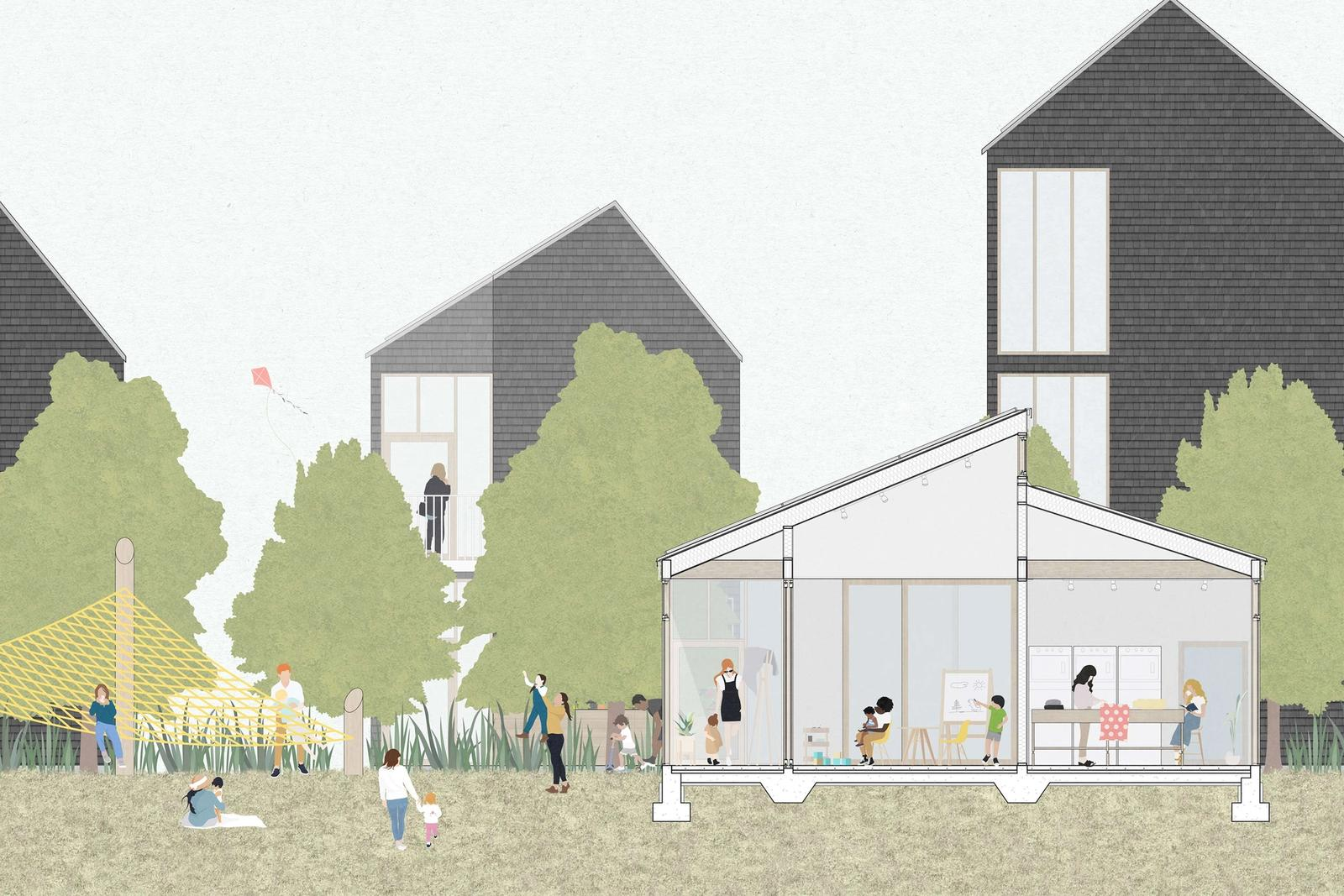 Outer Mix - Investigating mixed-use development as a means to fostering a healthy, year-round community on the Outer Cape - Section Through a Public Space