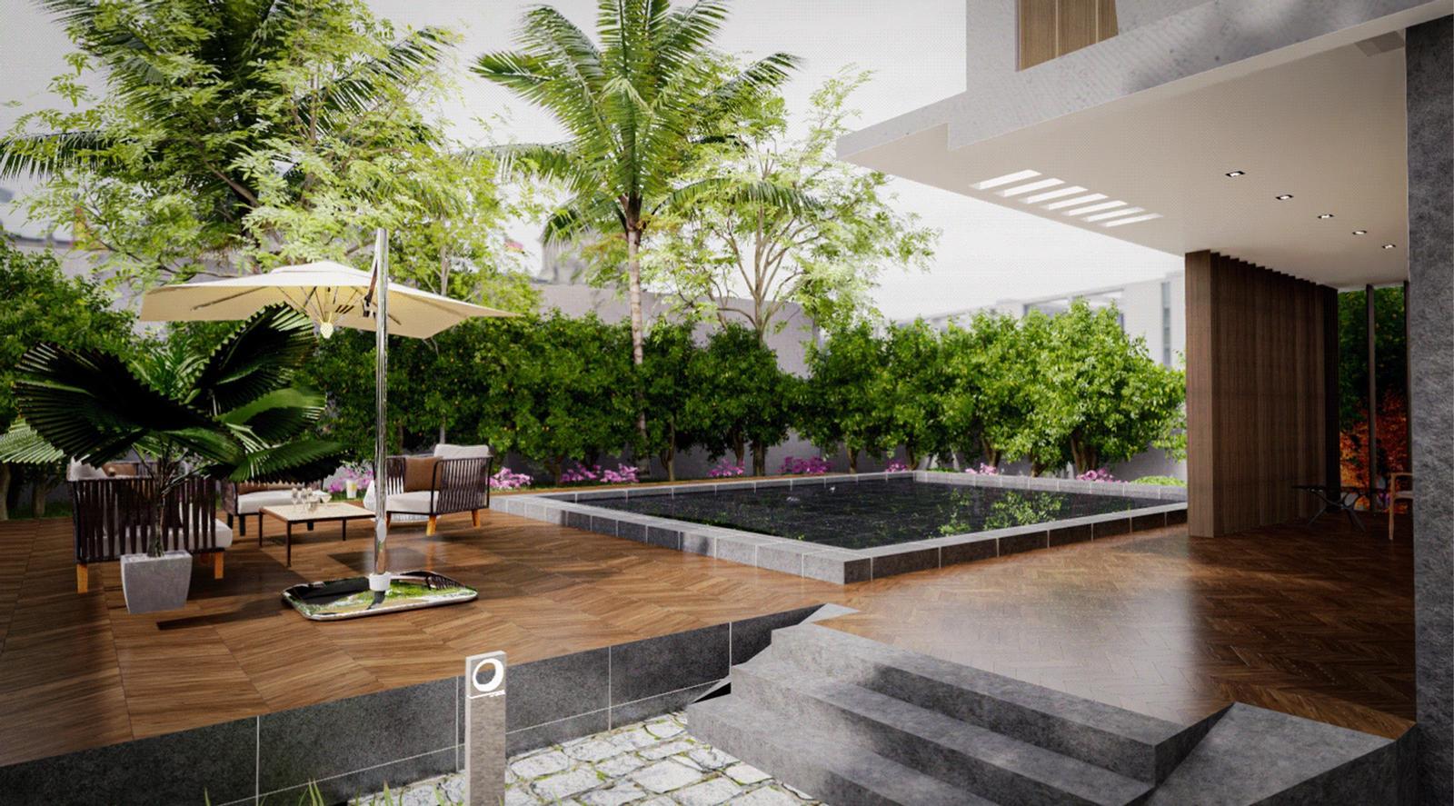 Modern Villa - Backyard Exterior Modeling landscape and Visualization ( SketchUp + D5 Render )