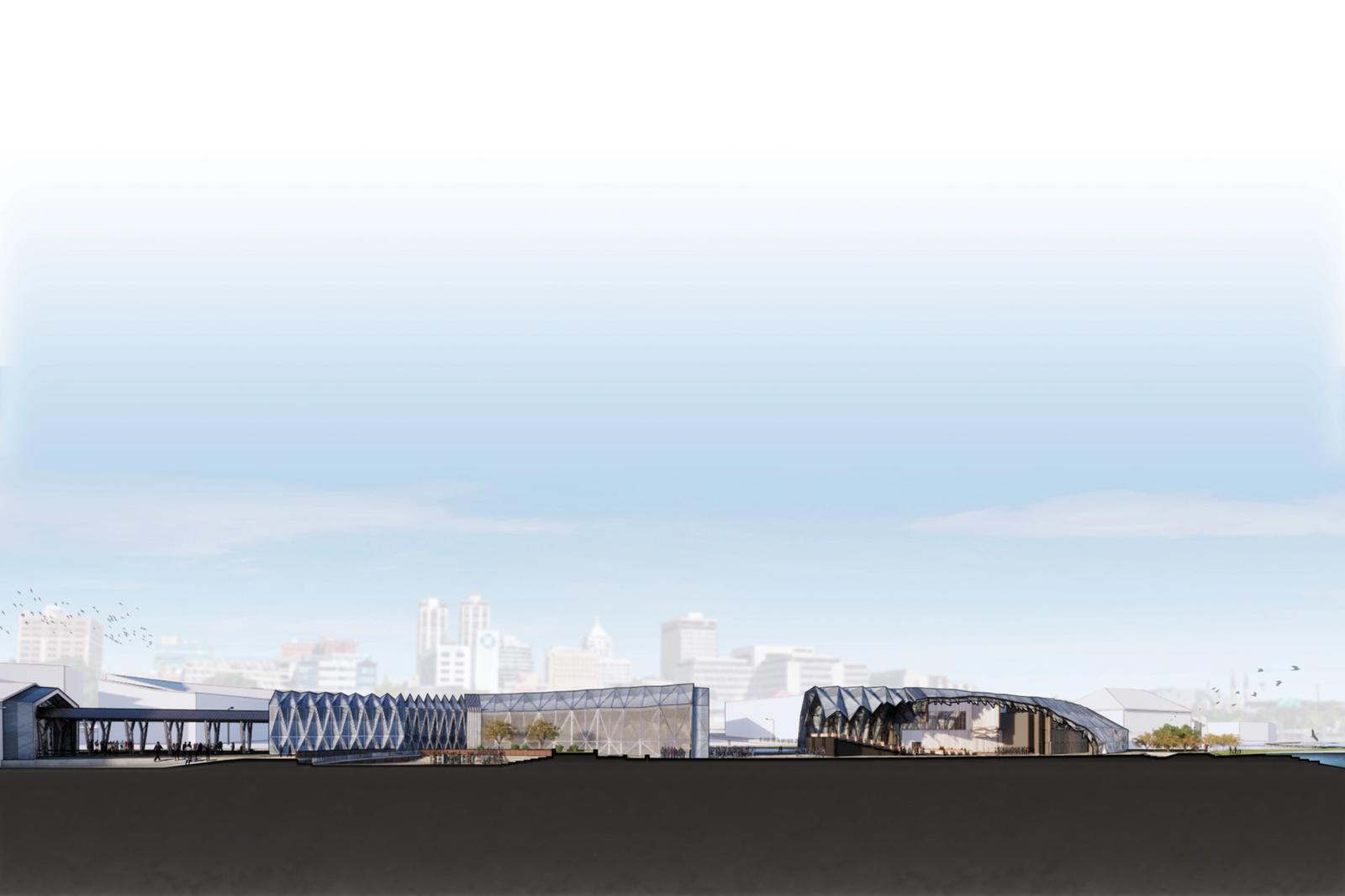 Section Perspective of Primary Assembly Spaces - Outdoor Amphitheater (Left) and Expanded Auditorium (Right)