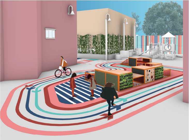 Rendering of the outdoor furniture installation