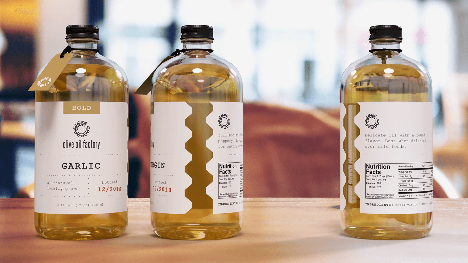 The Olive Oil Factory product packaging