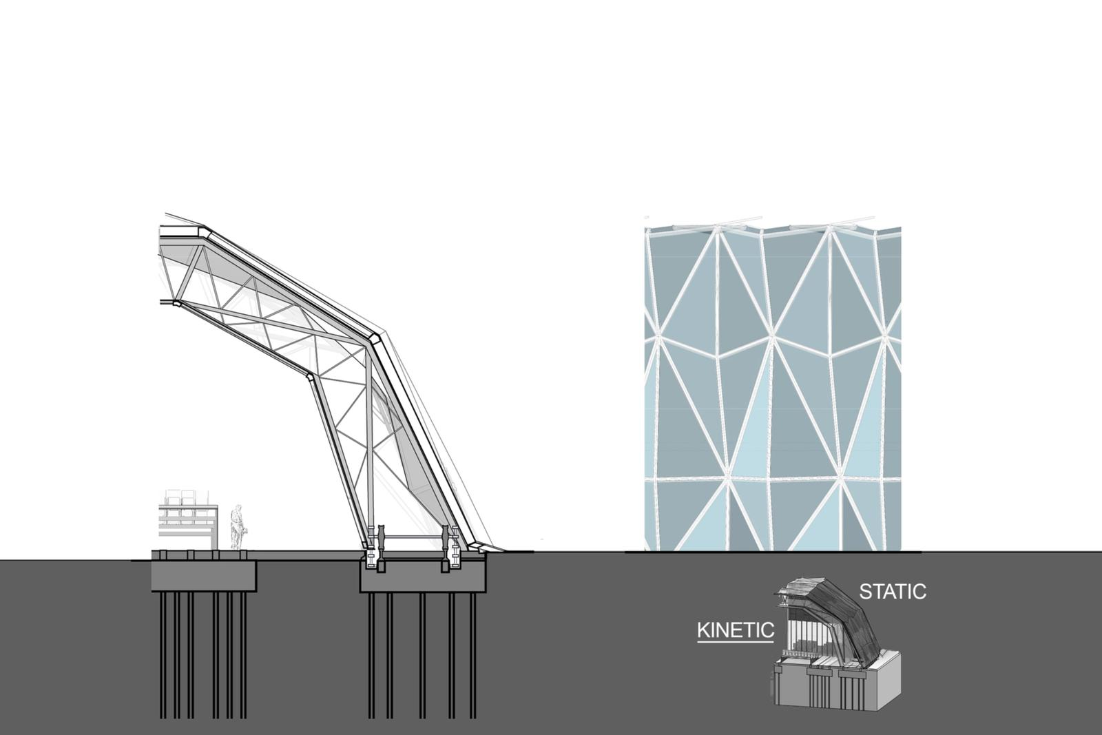 Kinetic Wall Section - Sliding Truss Frames & Folding Multi-functional ETFE Modules