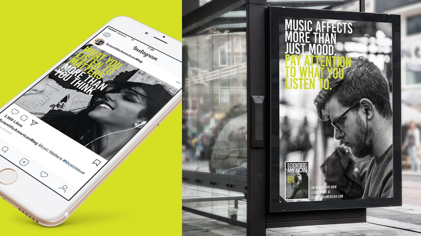 Scientific American social media and outdoor advertising