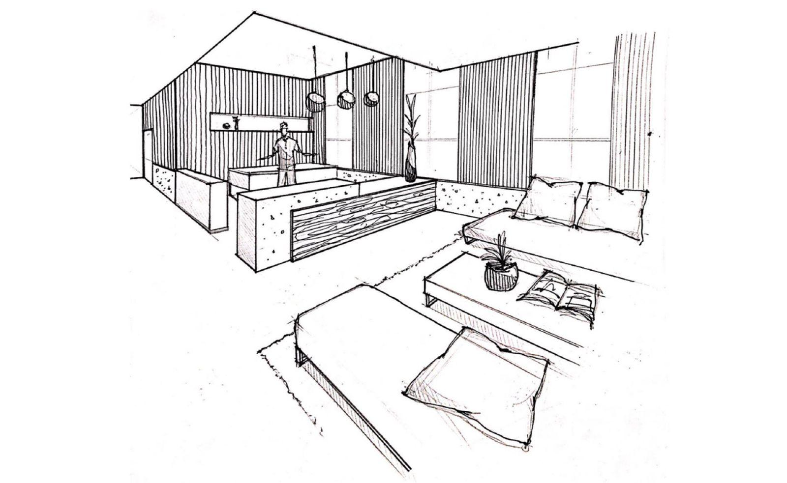 Interior perspective sketch
