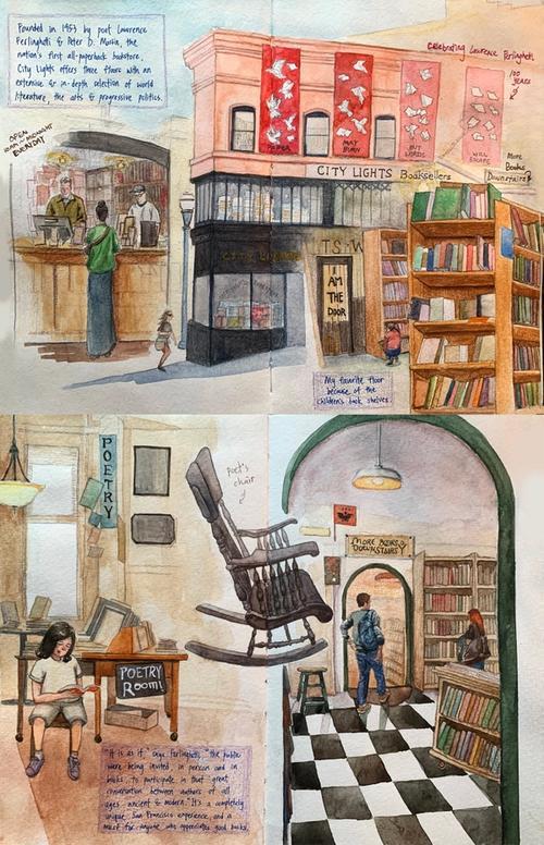 City Lights bookstore sketch journal