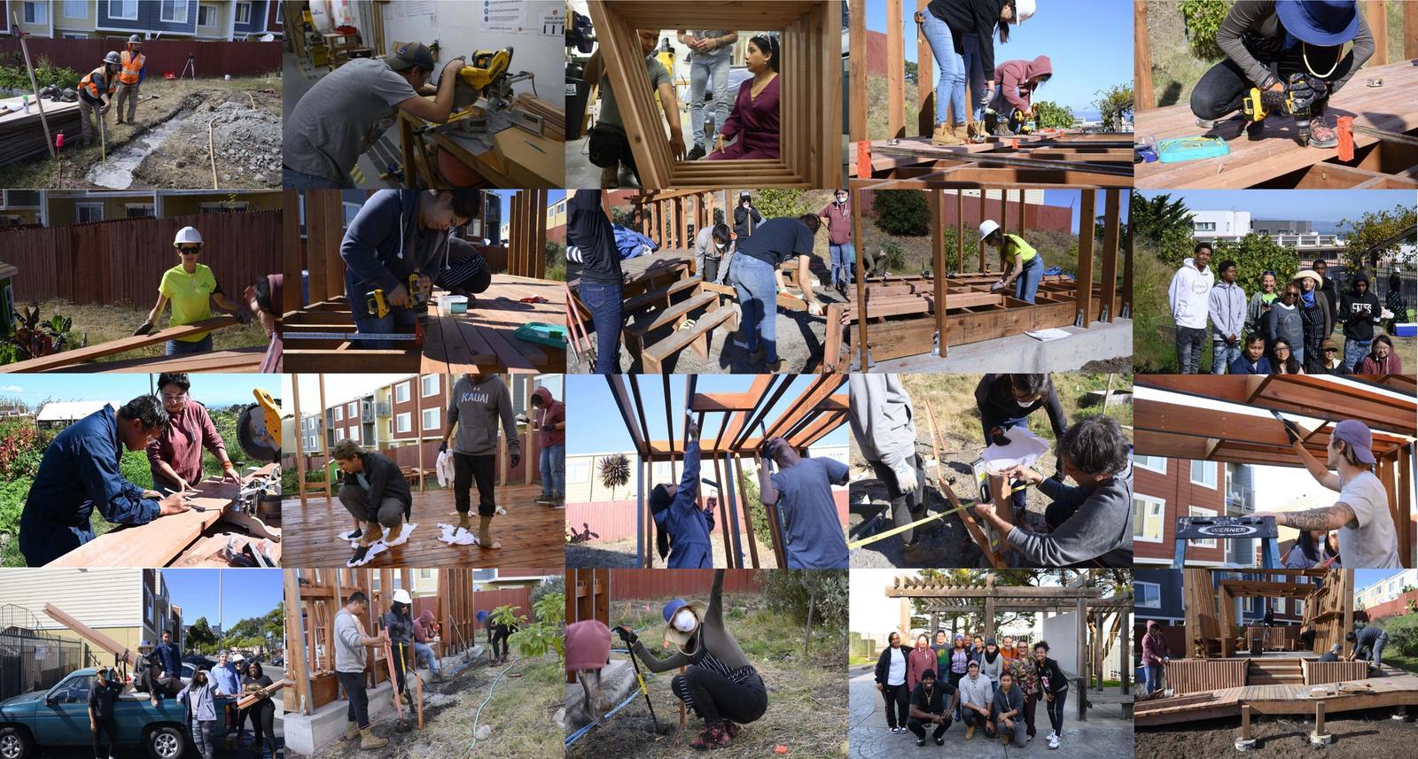 Students building the Unity Pavilion