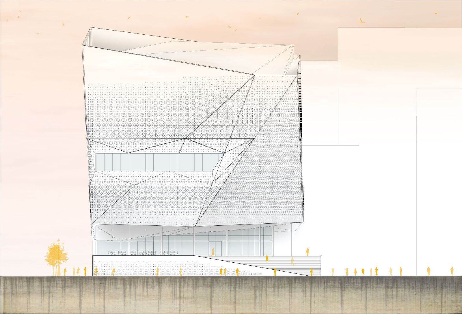 Elevation along Proposed New Alley Mint Plaza Extension