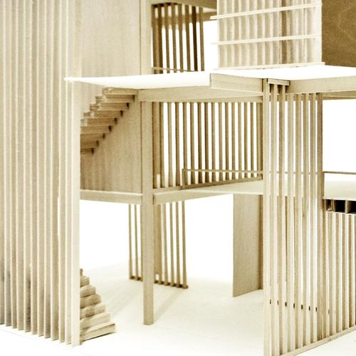 International Student Community Center - Detail Model Showing Vertical Screen Creating Layered Boundaries in a Building Proposal