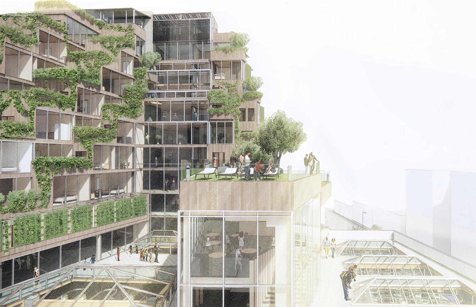 Residential units on upper levels have a view of the shared community spaces and recreation areas which strengthen the bond between residents and help foster trust in the community. The vegetation compensates for the hardness of downtown Los Angeles.