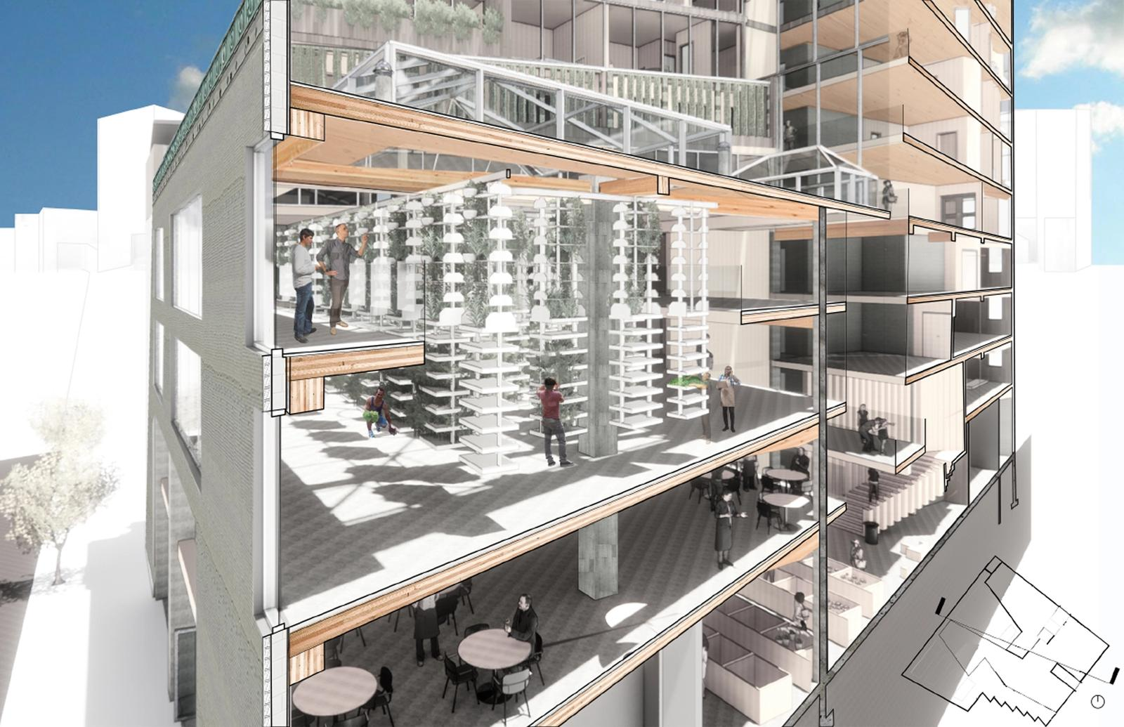 Section perspective of the vertical farm, restaurant, and atrium showing daylight penetrating the building. Entrance facade on South Hope St. uses reclaimed brickwork of the existing building.