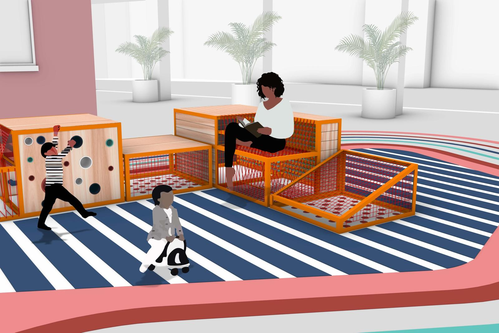 View of the Play Furniture in its default formation