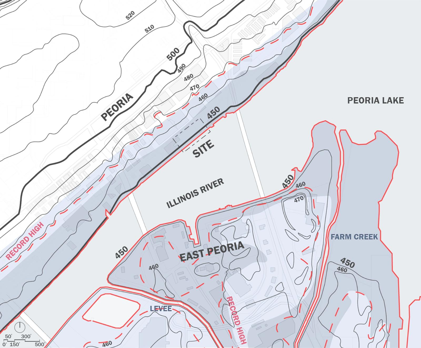Site Map - Site Context, Topography, Hydrology of Illinois River in Peoria