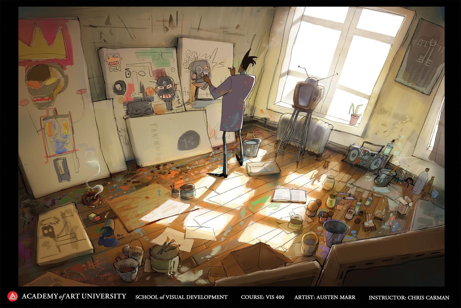 Basquiat in his Studio