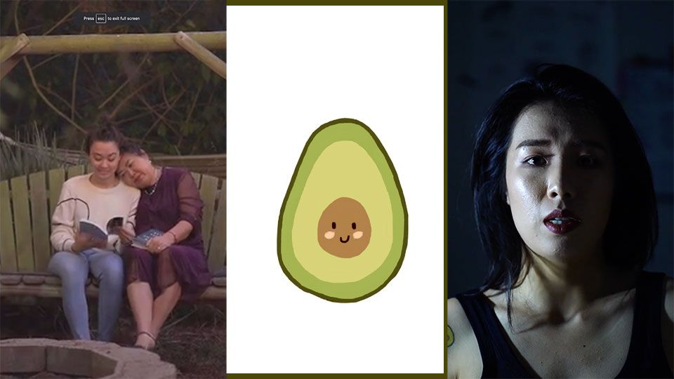 mother and daugher snuggle on a swing + avacado + faced of trouble young woman