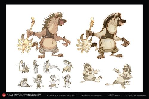 Hyena Musician Character Design with Nico Marlet Style Filter