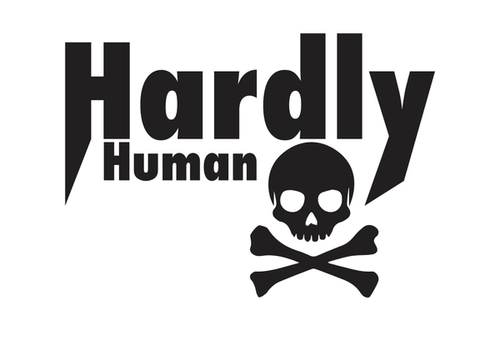 skull and crossbones under the words hardly and human