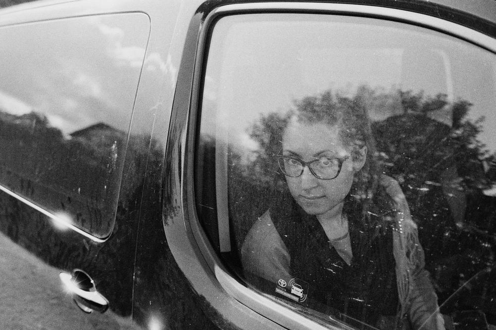 Photo of a woman in car.
