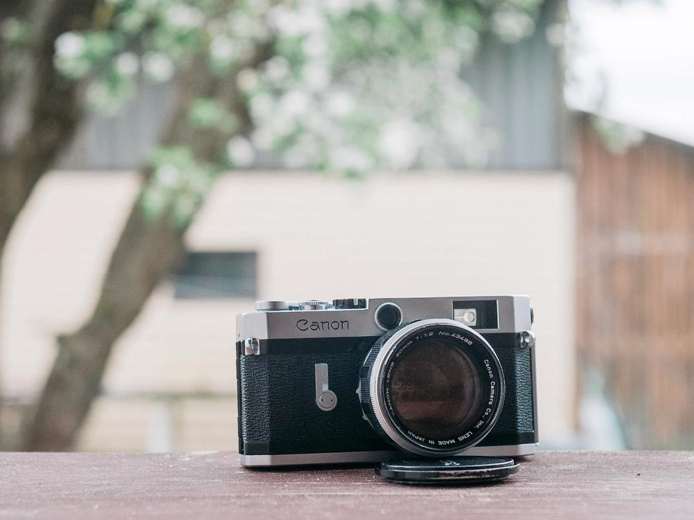 Photo of Canon P with the Canon 50mm f1.2 LTM lens on.