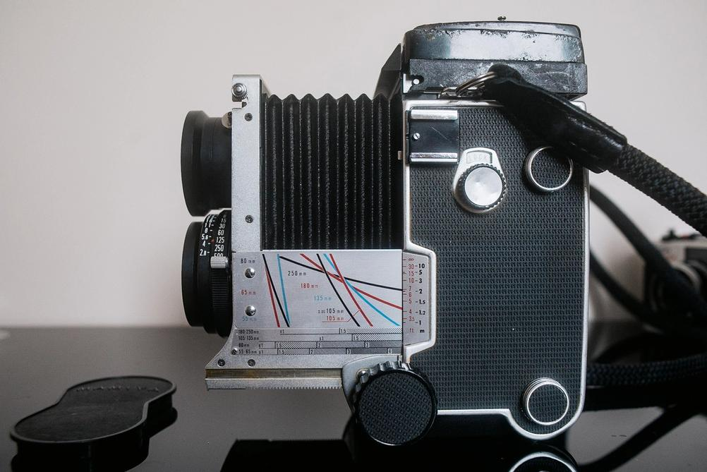 Mamiya C220 with extended bellows.