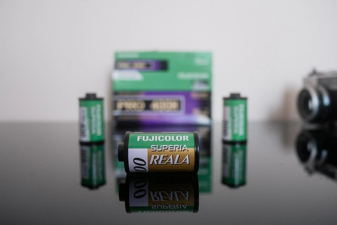 Photo of a roll of Fujifilm Reala 100.