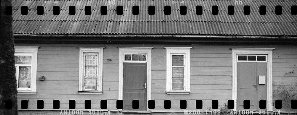 Black and white house front.