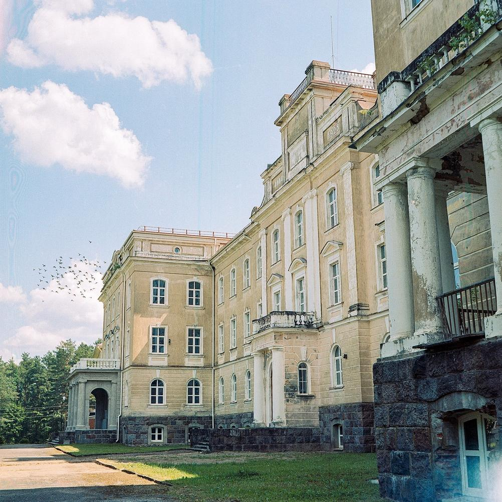 Photo of a large mansion with a flock of birds flying in the distance.