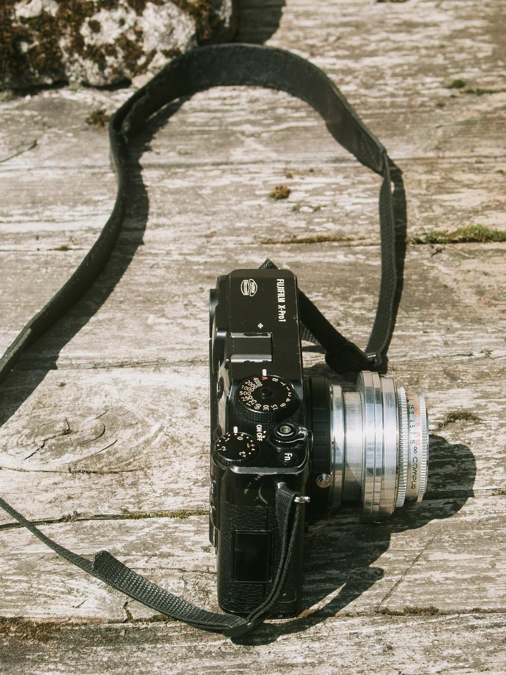 Photo of Fujifilm X-Pro1 with a weird lens on.
