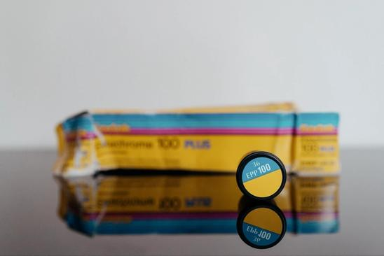 Kodak Ektachrome 100 Plus with EPP 100 canister in focus and box blurred out.
