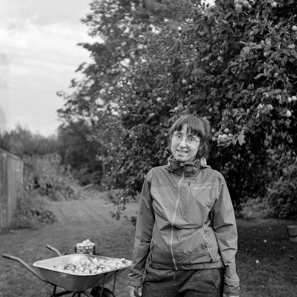Portrait of my wife whilst picking apples.