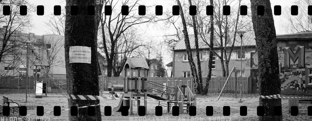 Black and white photo of a playground.