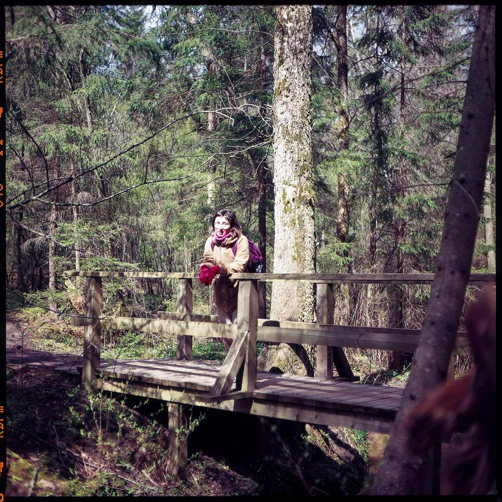Photo of my wife in the forest.